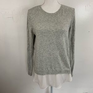 Loft grey knit with shirt layer detail